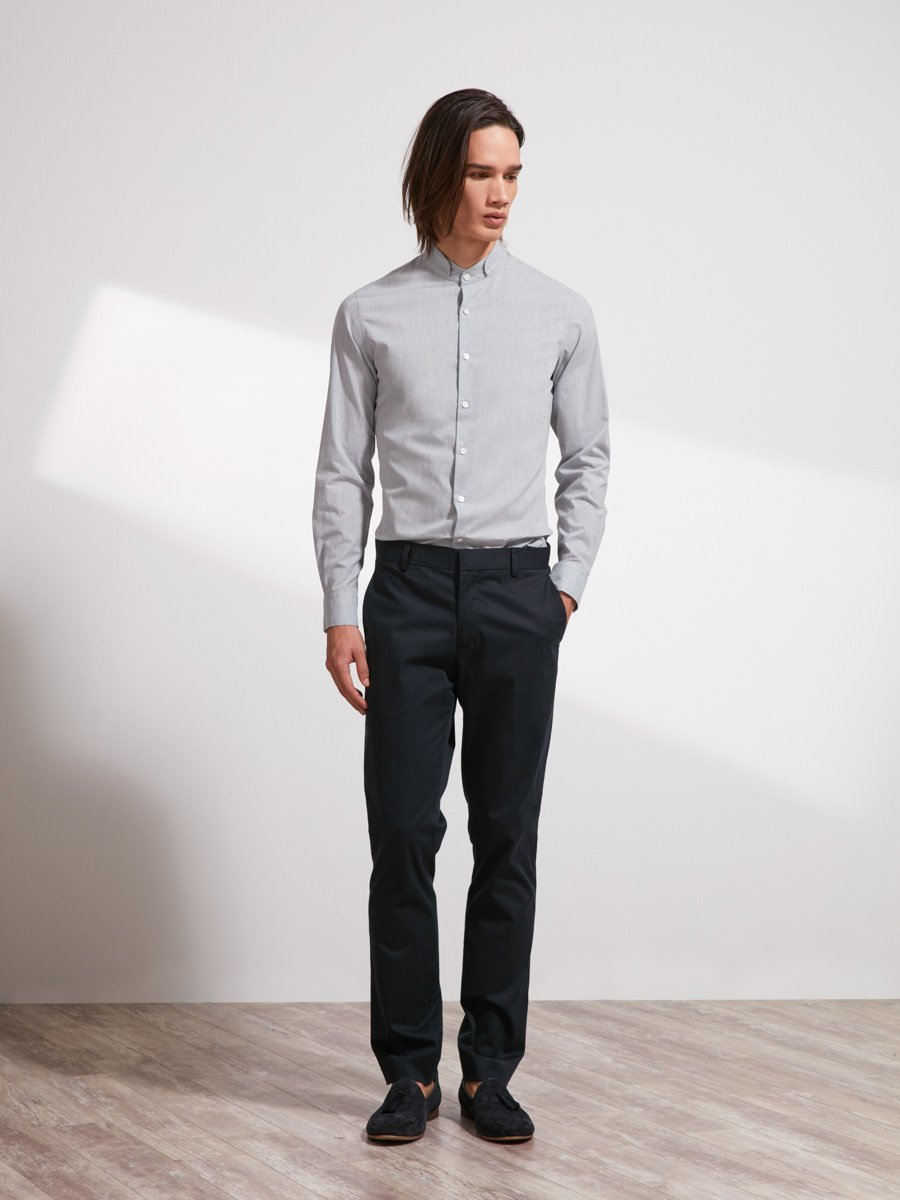 Cotton Stand Collar Shirt (Slim Fit)