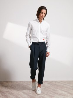 Linen-Cotton One Pleat Pants