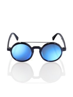 Retro Chinese Round Sunglasses Black - Ink Blue