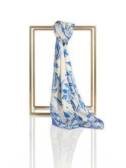 Chinese Tales Silk Printed Square Scarf