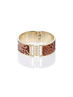Leather Shou Snake Print Bangle