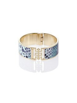 Shou Bangle in Snake-Print Leather