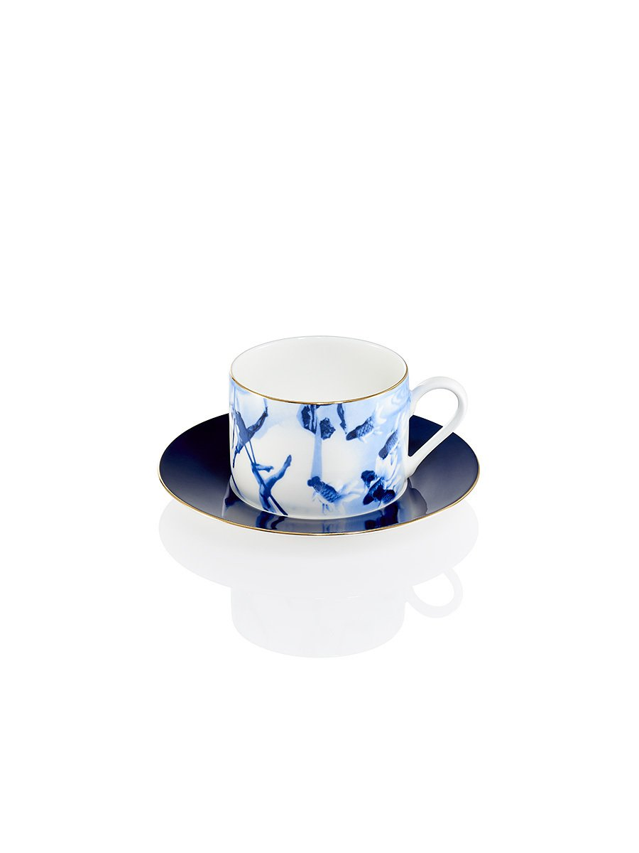 Blue Lotus Tea Cup and Saucer